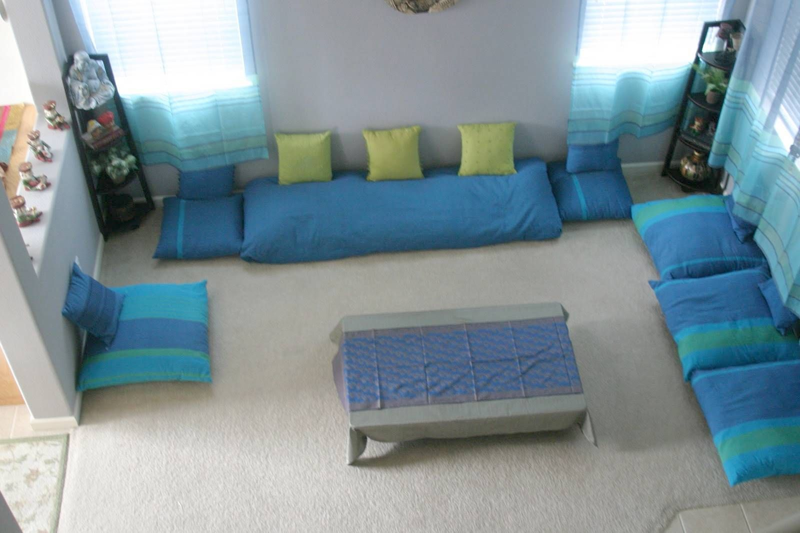 Hasil gambar untuk floor sitting cushion living room