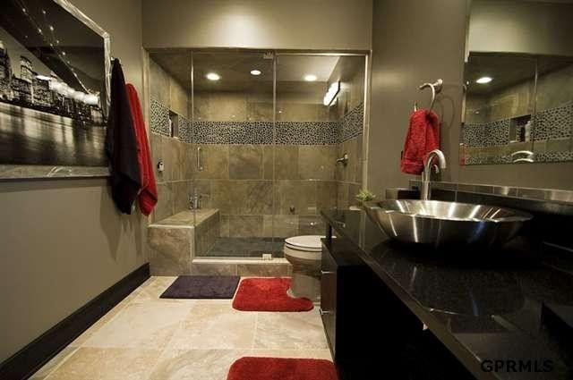 marvellous black silver bathroom ideas | Fancy red, black and silver bathroom. | Silver bathroom ...