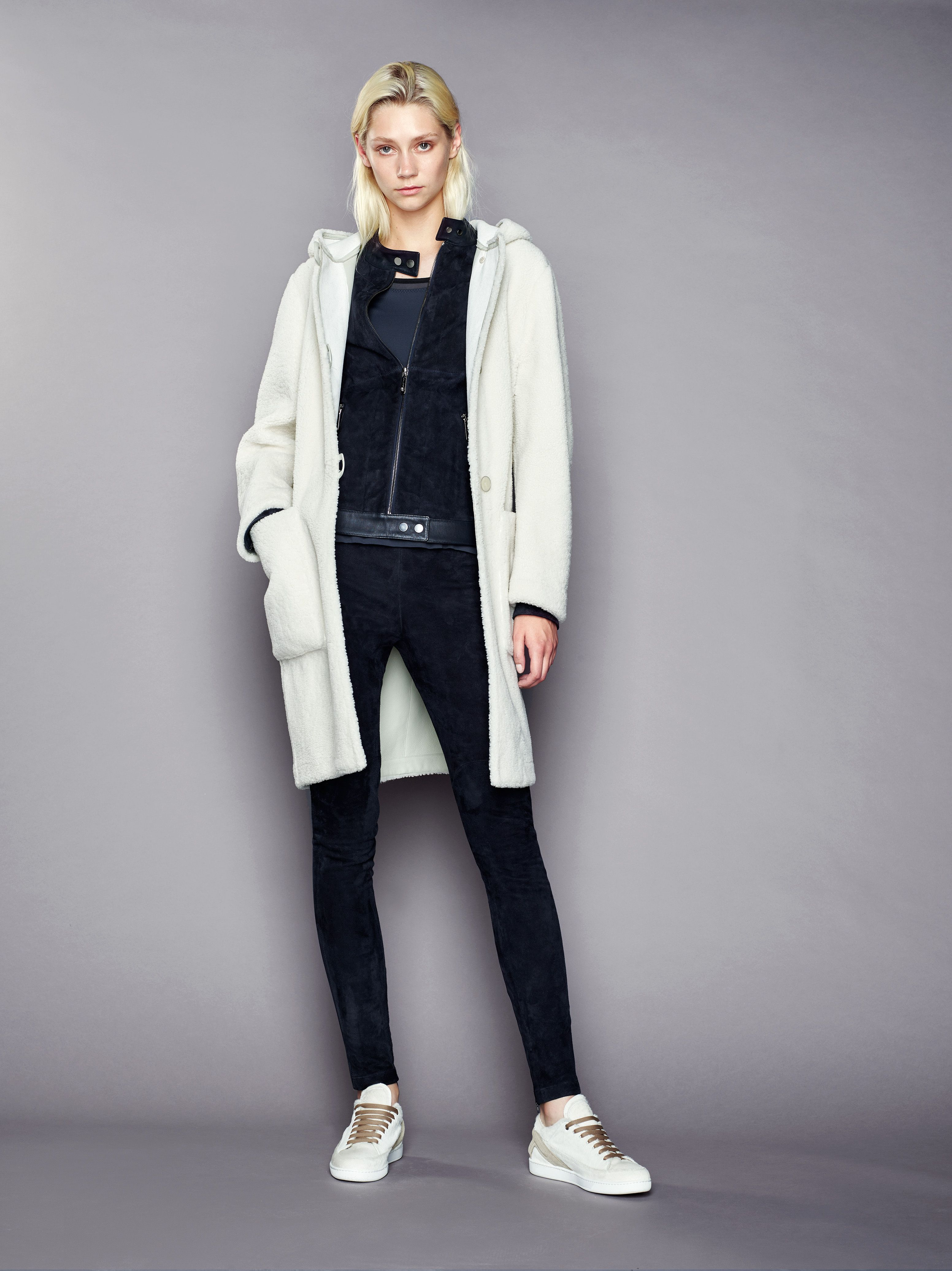 Fur stitched assembled reversed merino shearling oversized duffle ...