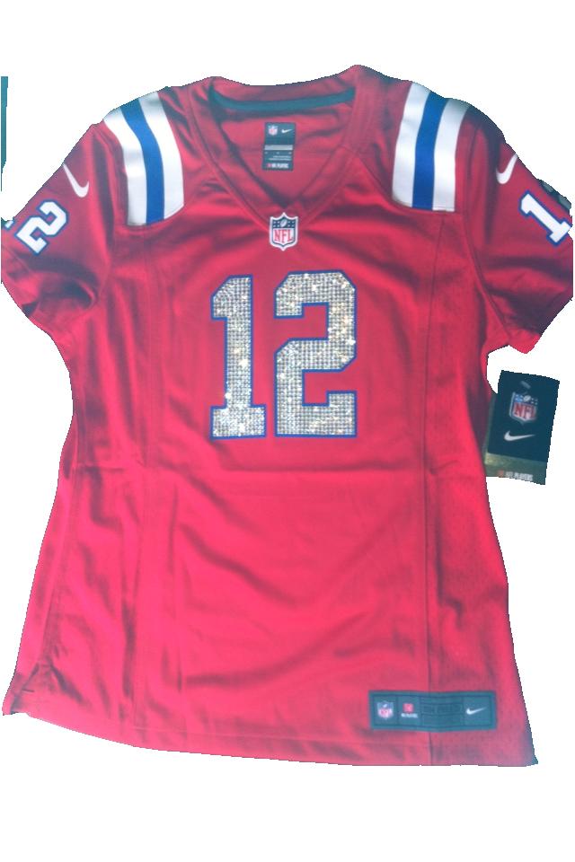 Women's Swarovski-crystal Tom Brady red Patriots jersey   Custom ...