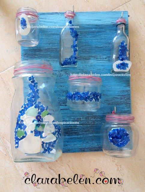C mo decorar botes de cristal con teselas de pl stico y for Como pegar plastico