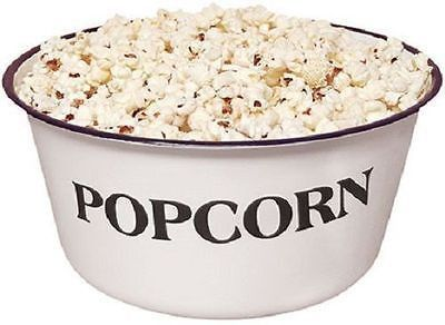 Popcorn 4 Qt Enamelware White Mixing Bowl