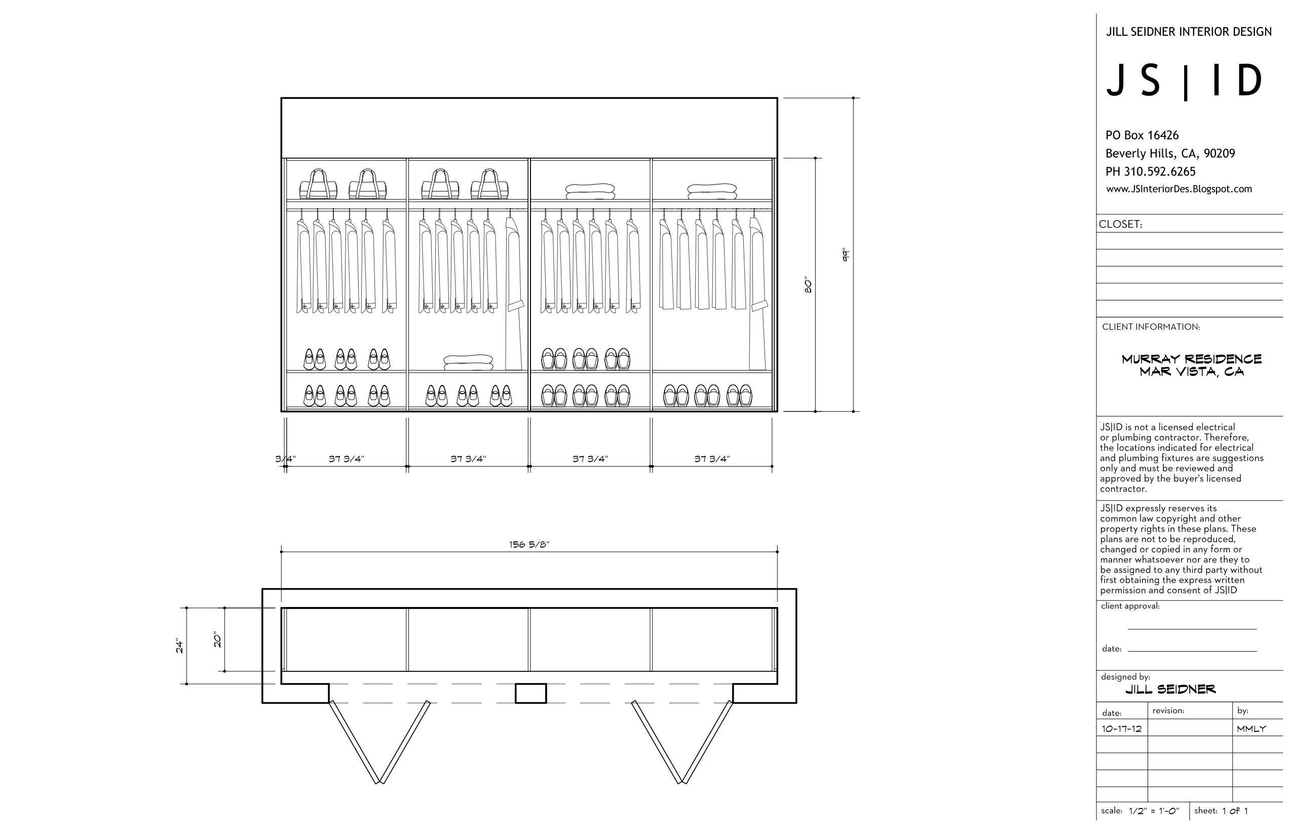 Bedroom Plan Elevation : Mar vista ca residence custom master bedroom closet plan