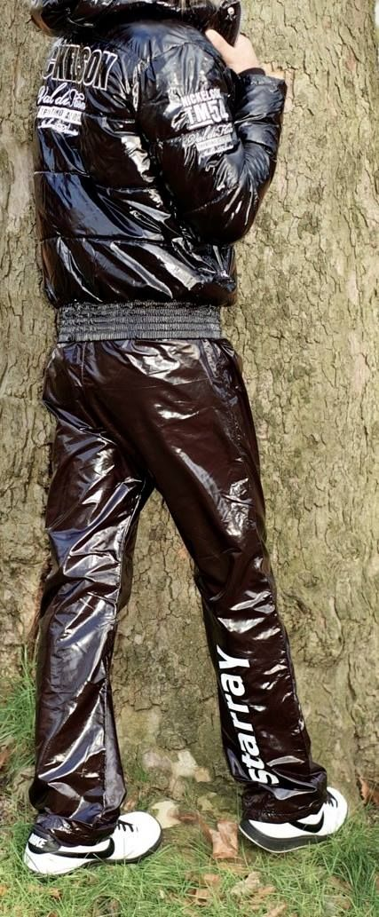 Nickelson jacket with shiny Starray track pants.