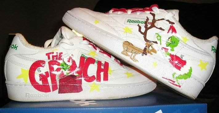 Grinch   Reebok club c, Painted shoes