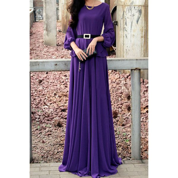 Simple Round Neck Long Sleeve Solid Color Off The Shoulder Women s... ($20) ❤ liked on Polyvore featuring dresses, purple, off shoulder dress, off shoulder long sleeve dress, longsleeve dress, purple long sleeve dress and purple dress
