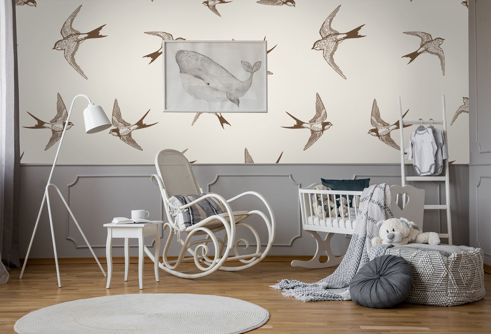 Flying Swallows Self Adhesive Wallpaper Hand Drawn Vintage Etsy Self Adhesive Wallpaper Removable Wall Murals Removable Wall