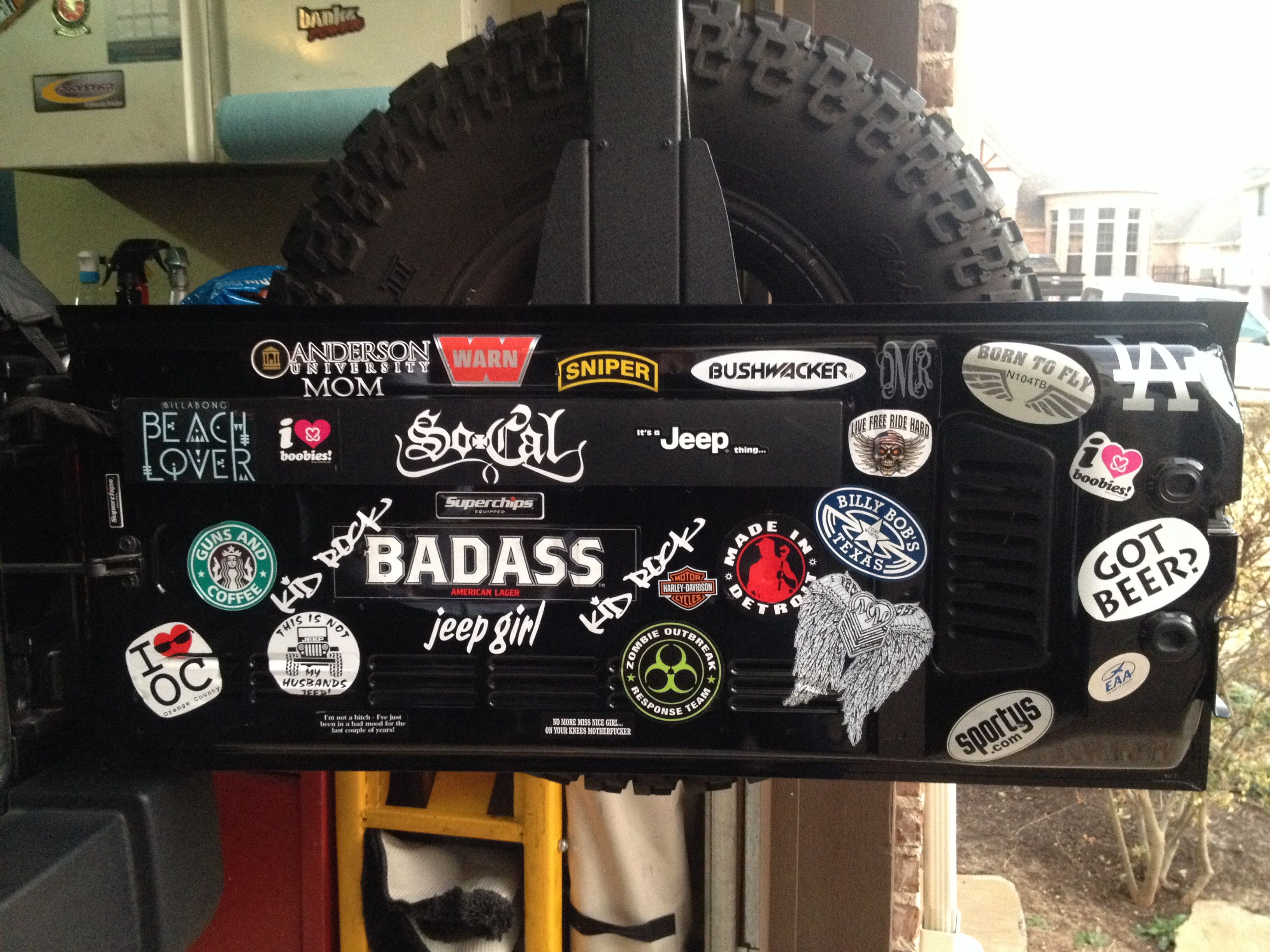 Jeep decals inside tail gate good idea