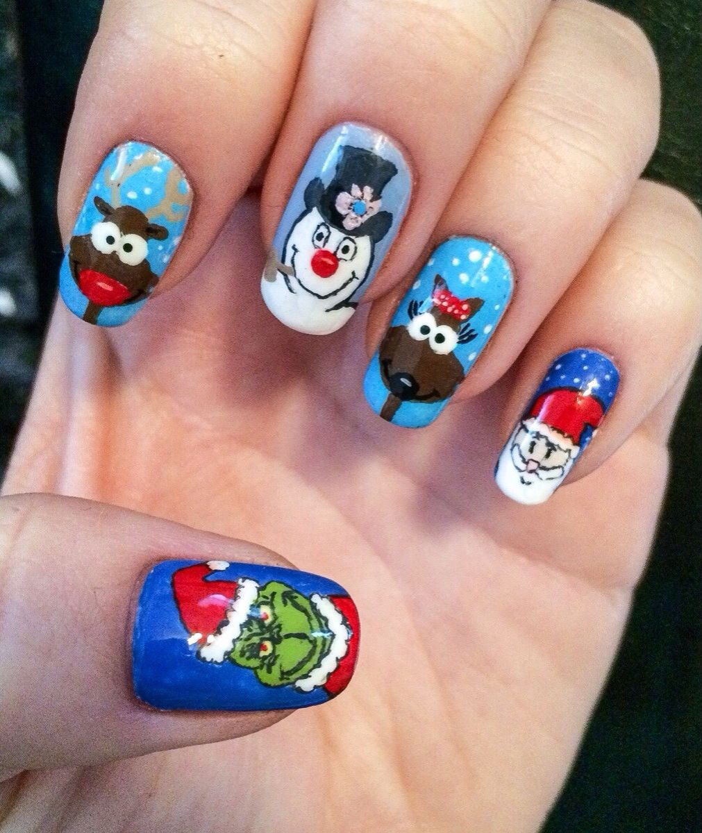 Christmas nails! Grinch and frosty the snowman Credit: reddit.com/r ...