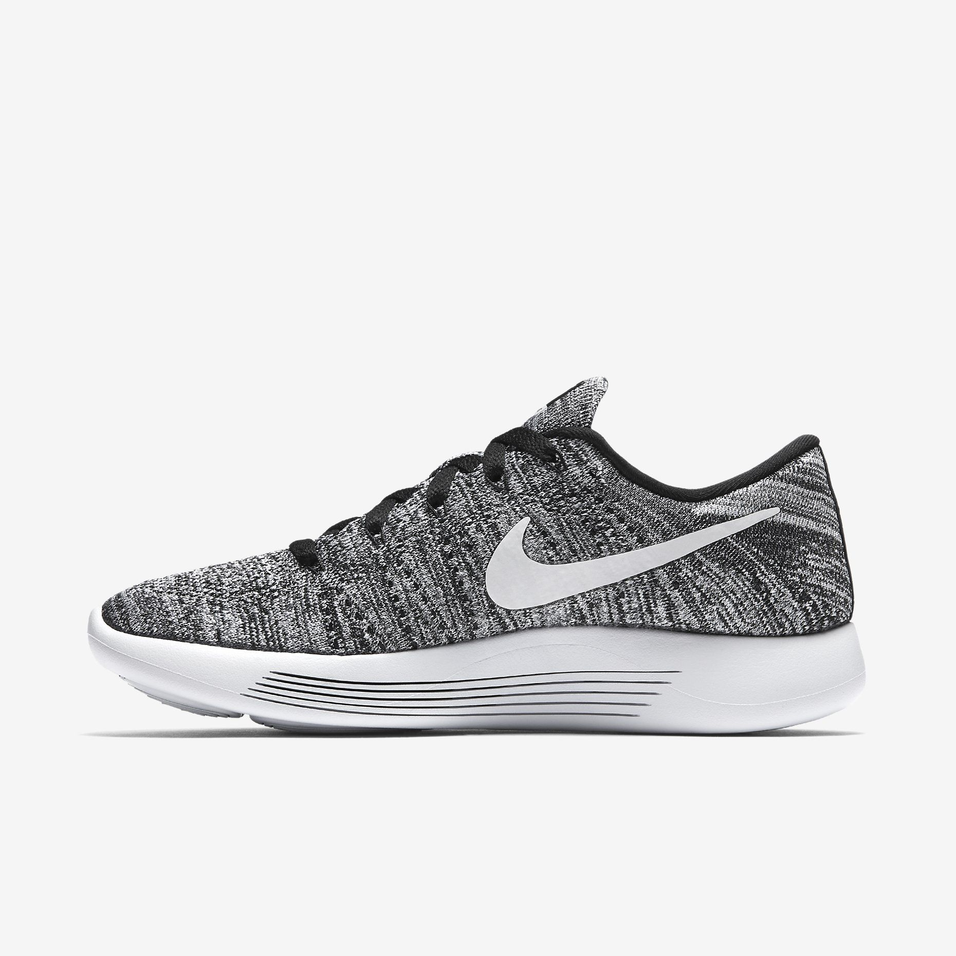 nike womens free flyknit+ shoe - black/white/grey tile