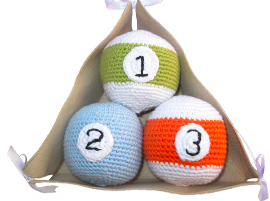 knit pool balls (perfect for baby pool sharks)