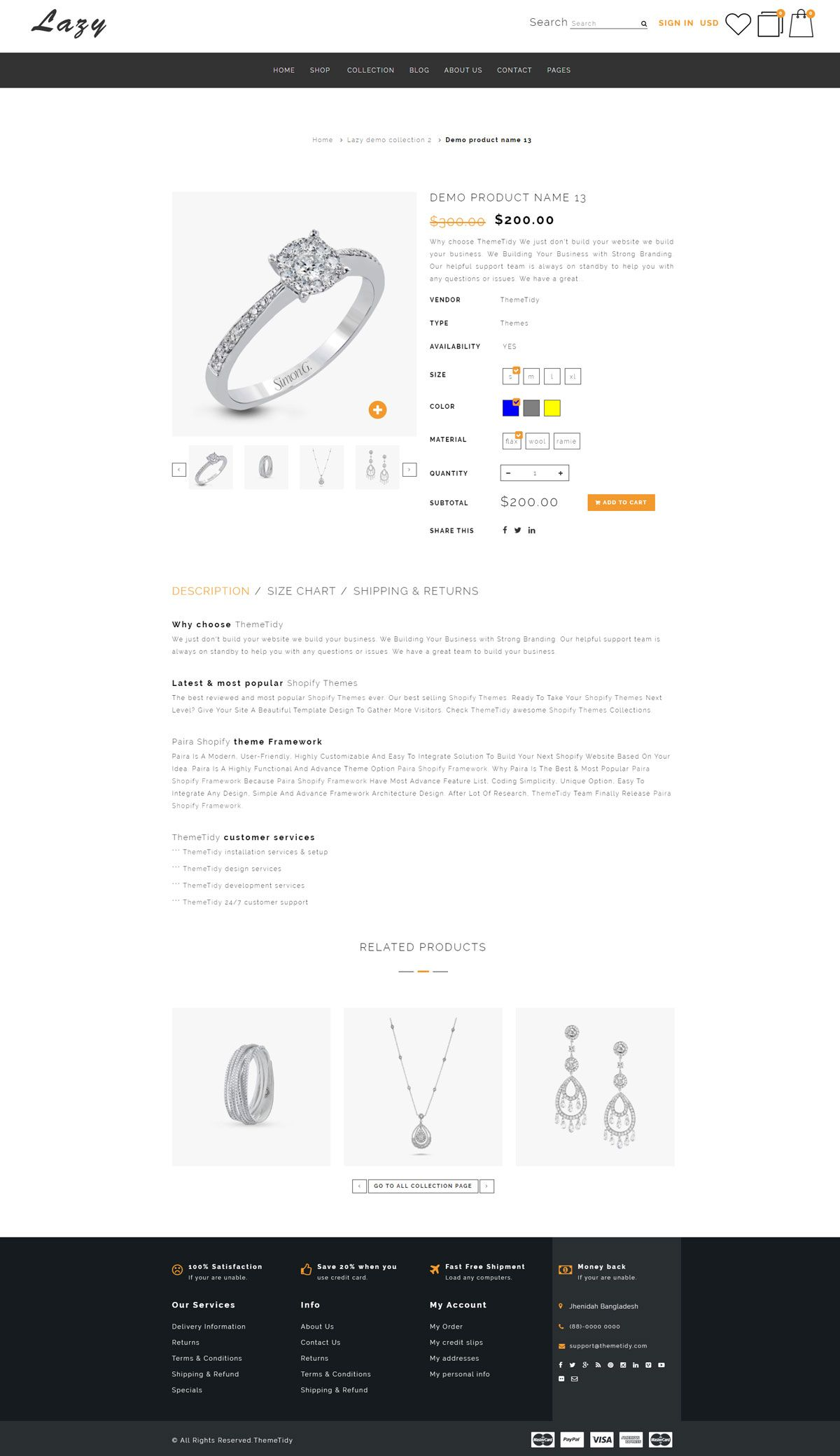 Lazy Jewellery Responsive Shopify Template