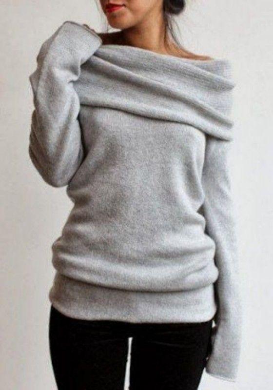 Grey Plain Turndown Collar Long Sleeve Pullover Sweater - Sweaters - Tops 38c834c3e