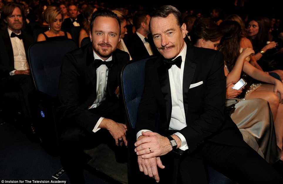 Gracious Winner Aaron Paul Won For Best Supporting Actor At The Emmys Pictured With Co Star Bryan Cranston