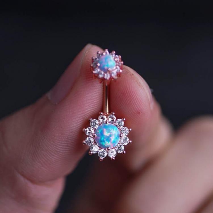 Opal Zircon Flower Belly Button Rings In 2019 Belly Bling Bling