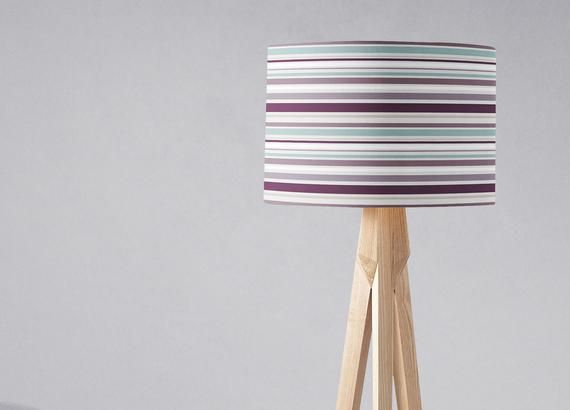 Purple Lamp Shade Striped Lampshade Duck Egg