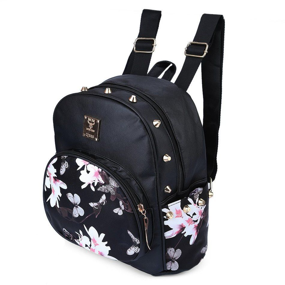 3e7a170b46 Fashion Women Backpack Cute School Bags Girls Mini Floral Printing Black  shoulder bags Small PU Leather Backpack For Teenagers
