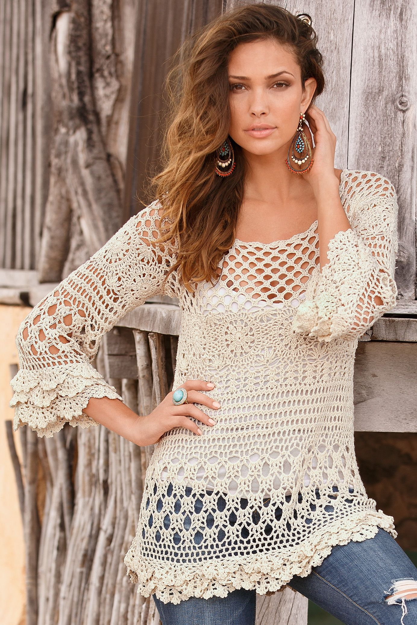 Crochet tunic PATTERN for sizes S-2XL, detailed tutorial in ENGLISH ...