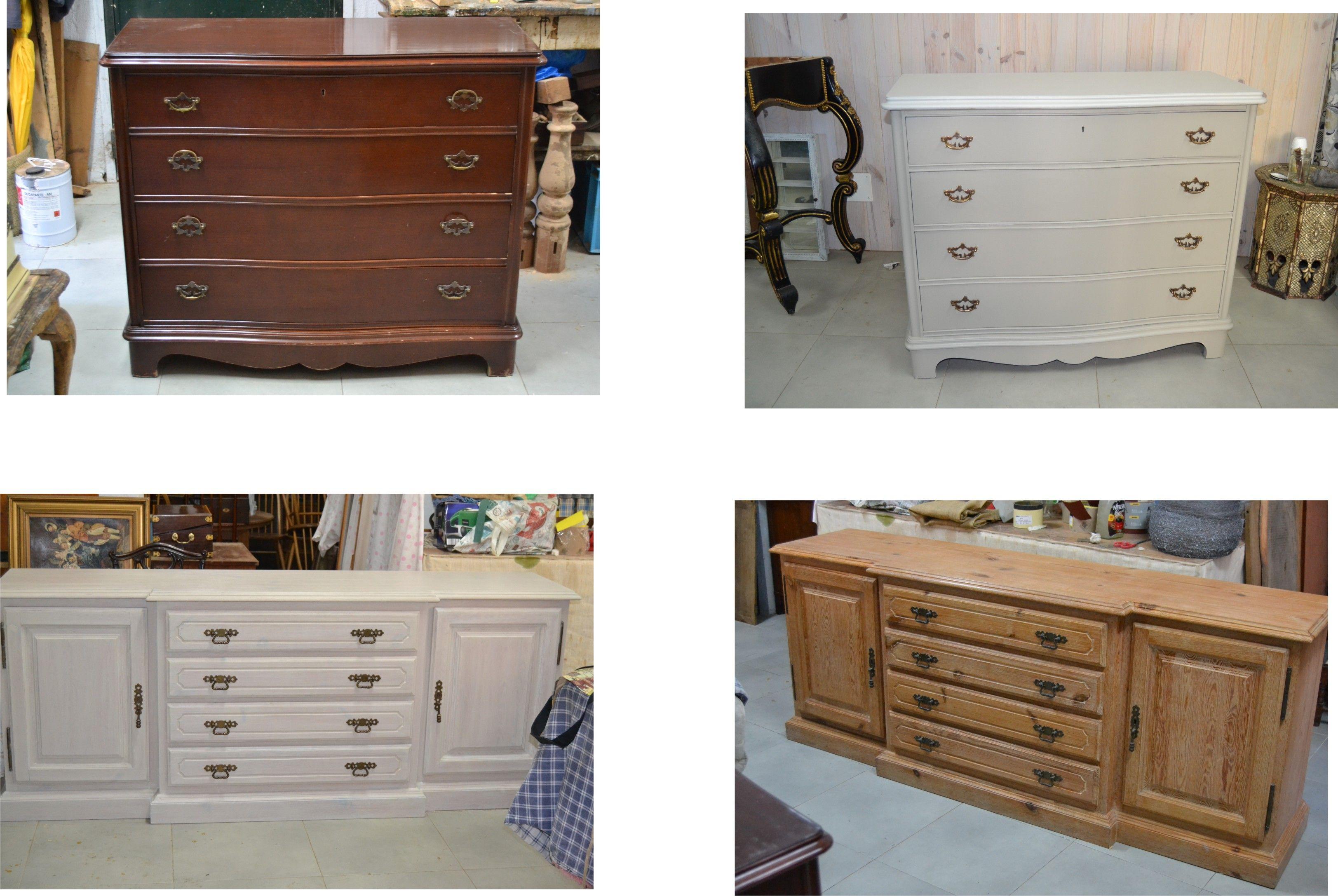 Antes y después de una cómoda que se ha pintado. Antes y después de ...
