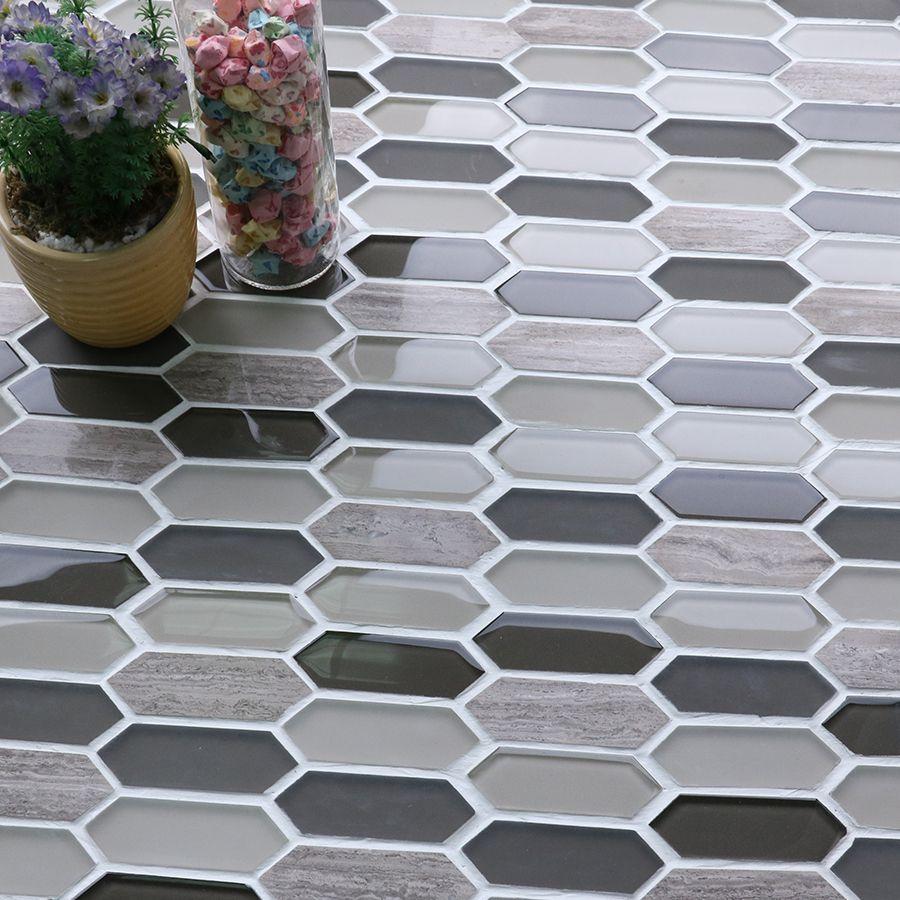 Mm Mosaic Arrow Shaped Gl Mix Stone Bathroom Wall Tile