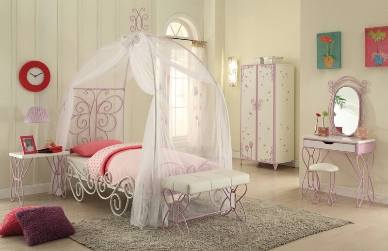 Acme 30530t Priya Ii White Light Purple Finish Metal Frame Canopy Bed Butterfly Shapes Twin Canopy Bed Twin Canopy Bed Metal Twin Bed Full Bed