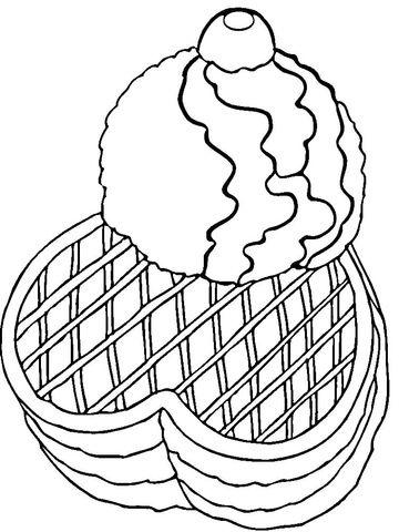 Gofres con Helado Dibujo para colorear  helados  Pinterest