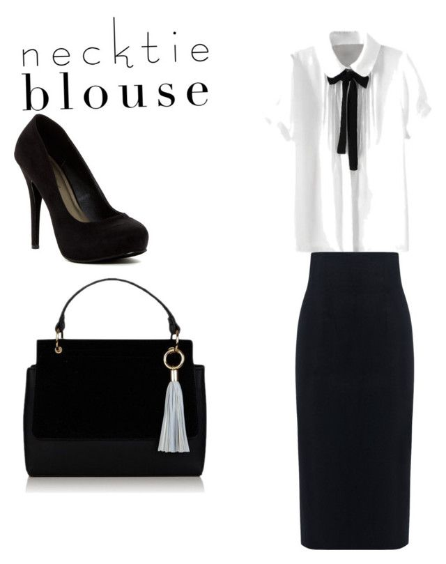 """Necktie Blouse"" by lildae ❤ liked on Polyvore featuring 10 Crosby Derek Lam and Michael Antonio"