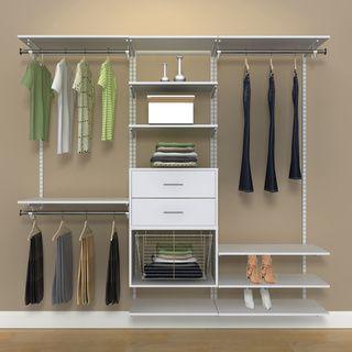 Amazing Organized Living FreedomRail 7 Foot White Wood Closet Kit