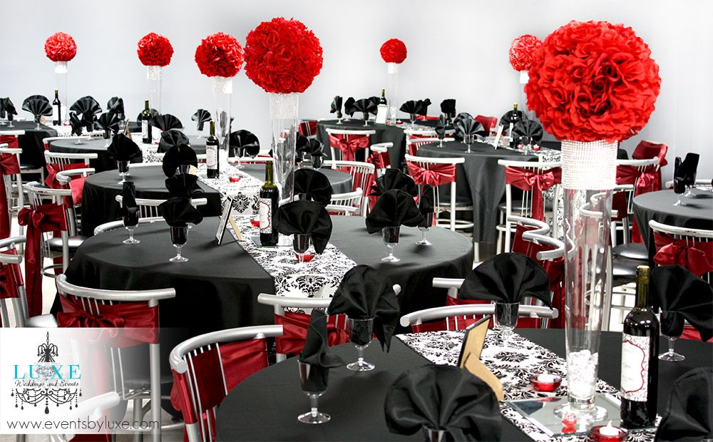 Damask Black Red And White Wedding Ceremony And Reception Decor