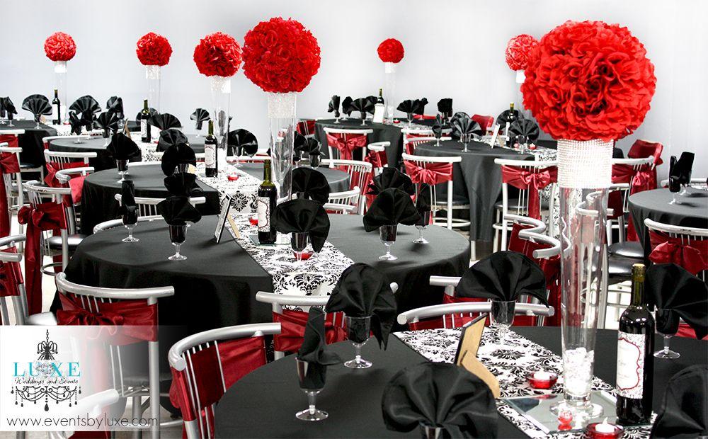 Damask Black Red And White Wedding Ceremony Reception Decor