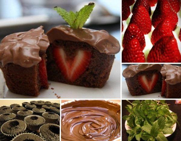 Láska na prvé zahryznutie, takto by sa dali definovať tieto čokoládové cupcakes s jahodovým prekvapením vo vnútri. Ich príprava je jednoduchá a rýchla. Budete potrebovať: čokoládové muffiny (podľa vlastného receptu, určite má každá ten svoj naj...), jahody, čokoládový puding a mäta na ozdobenie.