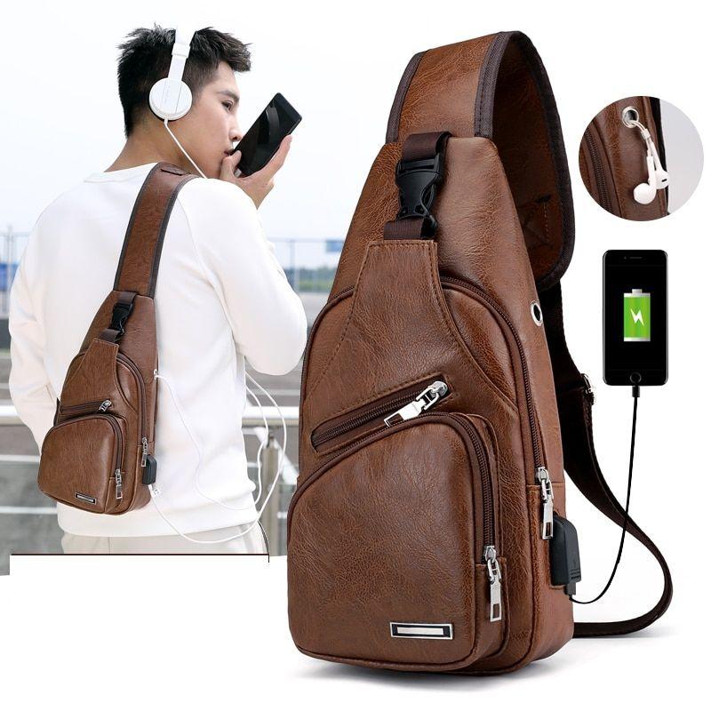 Men/'s Chest Pack Bag USB Charging Sling Travel Shoulder Crossbody Handbag Sports