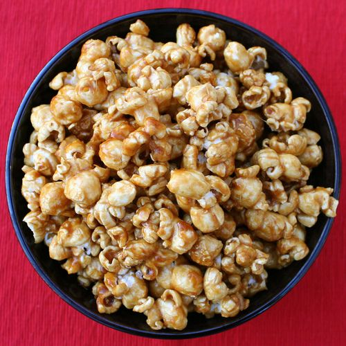Used this caramel recipe over kettle corn, Fritos, almonds, and cashews! I then mixed in festive m&ms! YUM!!!