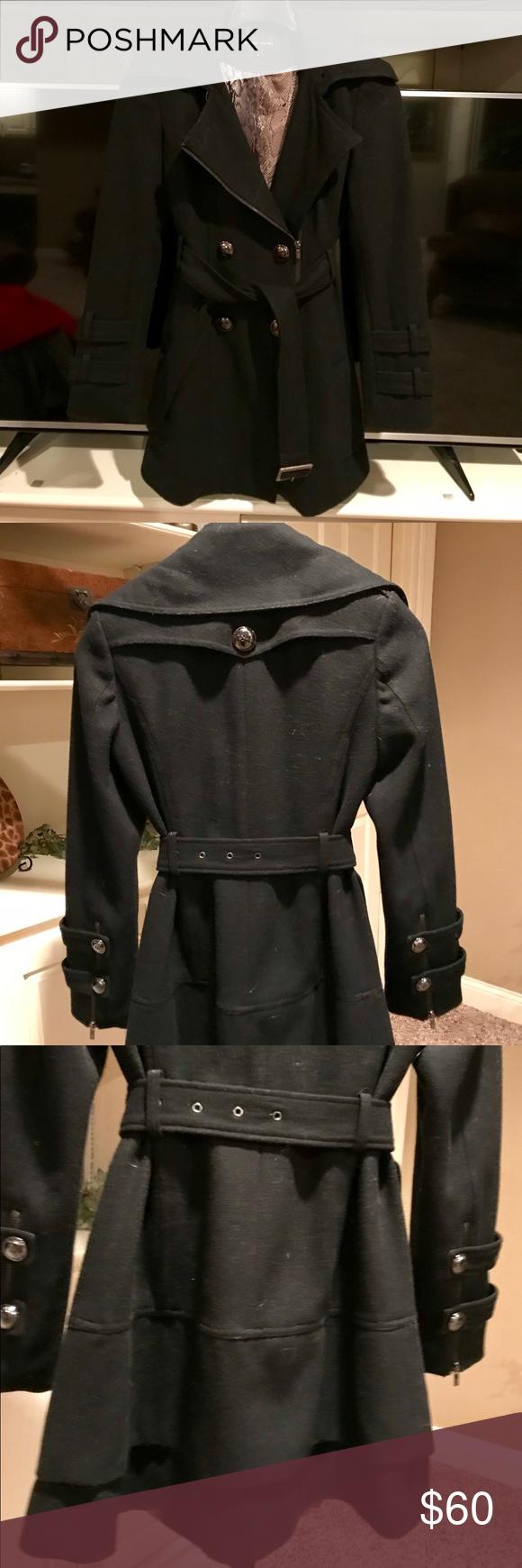 Women's black rivet wool peacoat