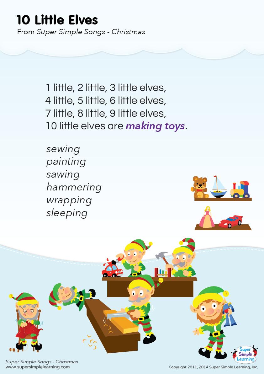 """Lyrics poster for """"10 Little Elves"""" Christmas song from"""