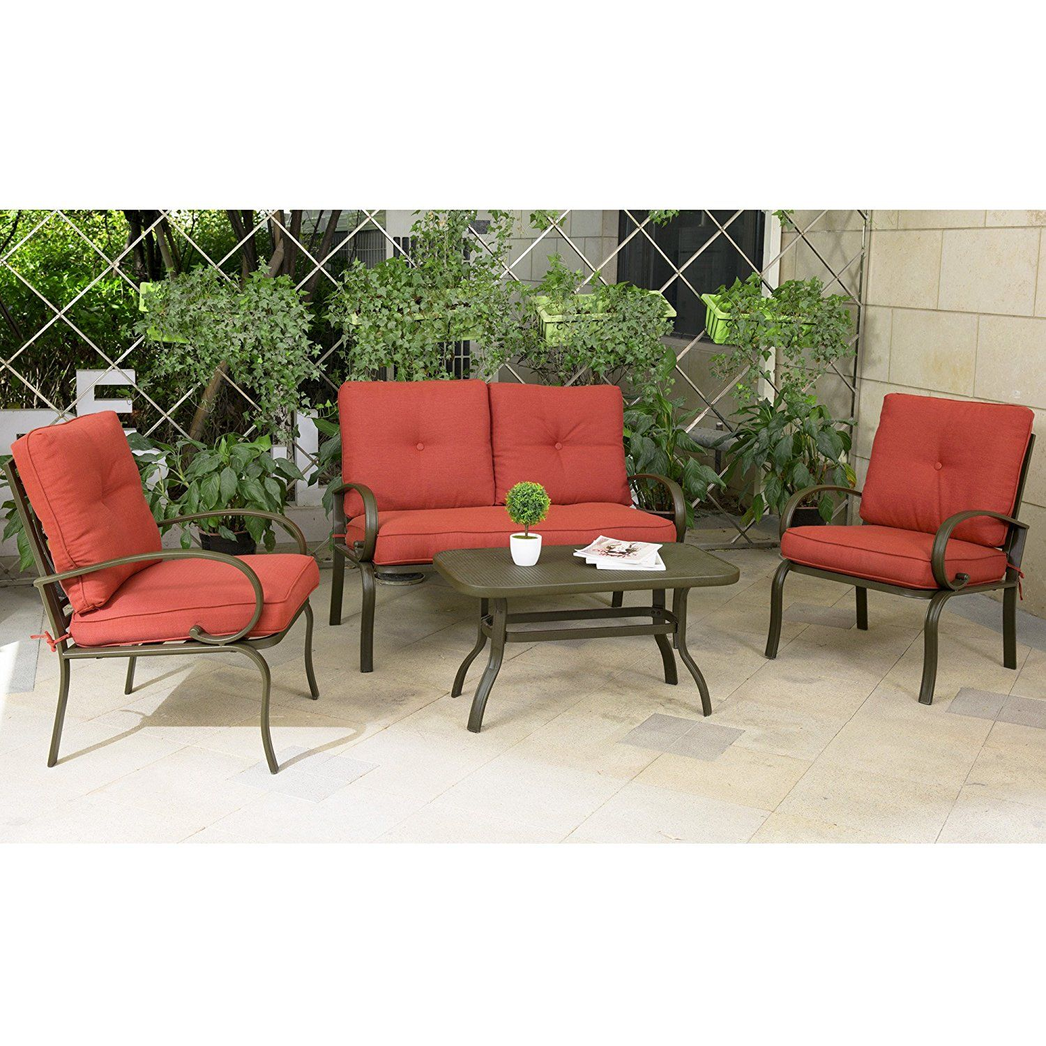 Amazon Cloud Mountain 4 Piece Patio Furniture Set Outdoor