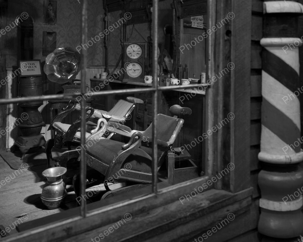 Old barber shop window - Old Texas Barber Shop Vintage 8x10 Reprint Of Old Photo