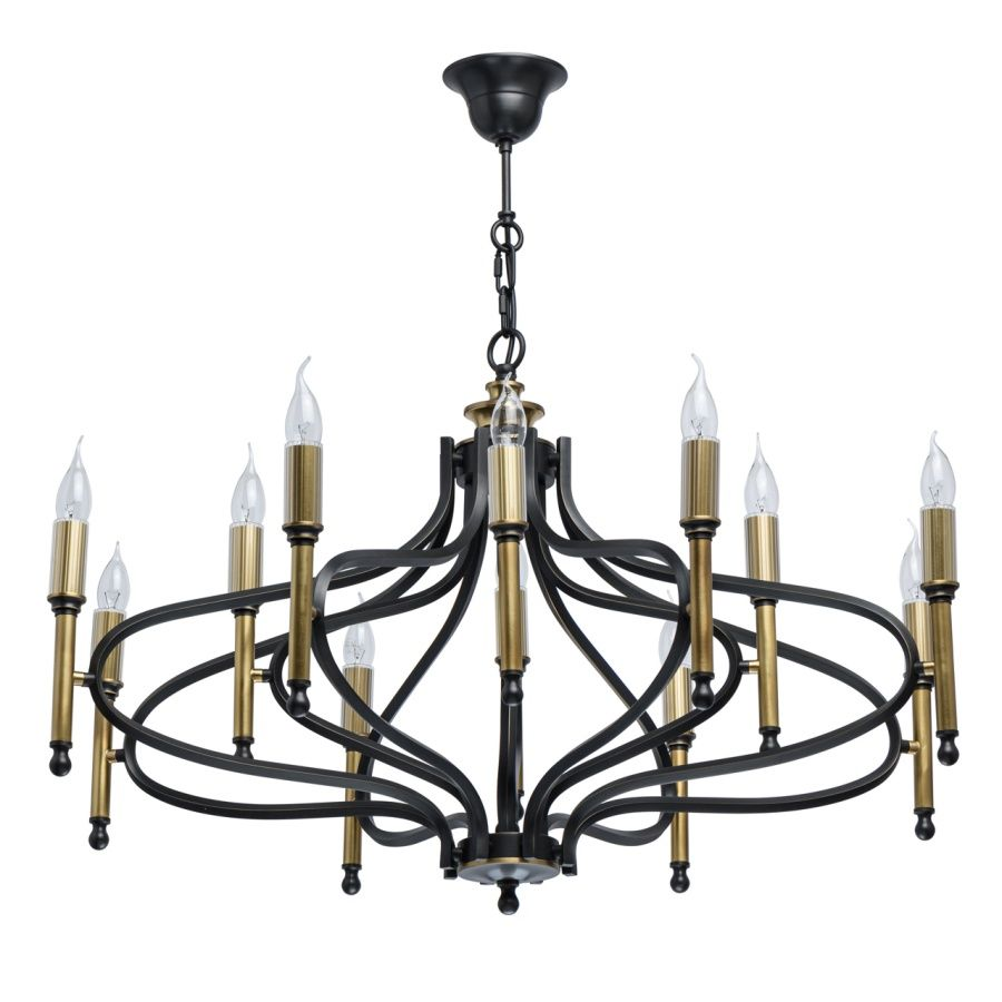 Chiaro 445011112 Black Fixture 12 Arm Brass Chandelier In Country Style