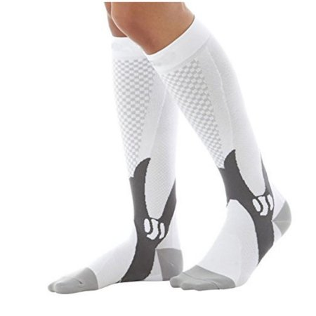 d6630352895 Knee High Anti-Fatigue Graduated Compression Socks For Women and Men  -White-L XL