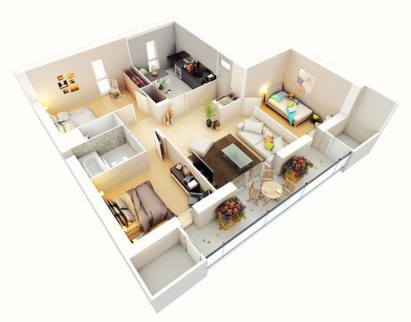 25 Three Bedroom House Apartment Floor Plans Bedroom Floor Plans Bedroom House Plans Apartment Floor Plans