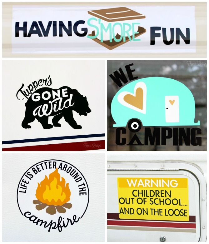 Camping decals with free silhouette cut files fynes designs