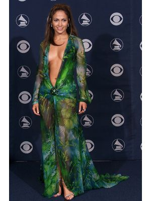 Holla!   Jennifer Lopez's see-through, plunging-neckline dress by Versace at the 2000 Grammy Awards brought barely there red carpet fashion to the next level.