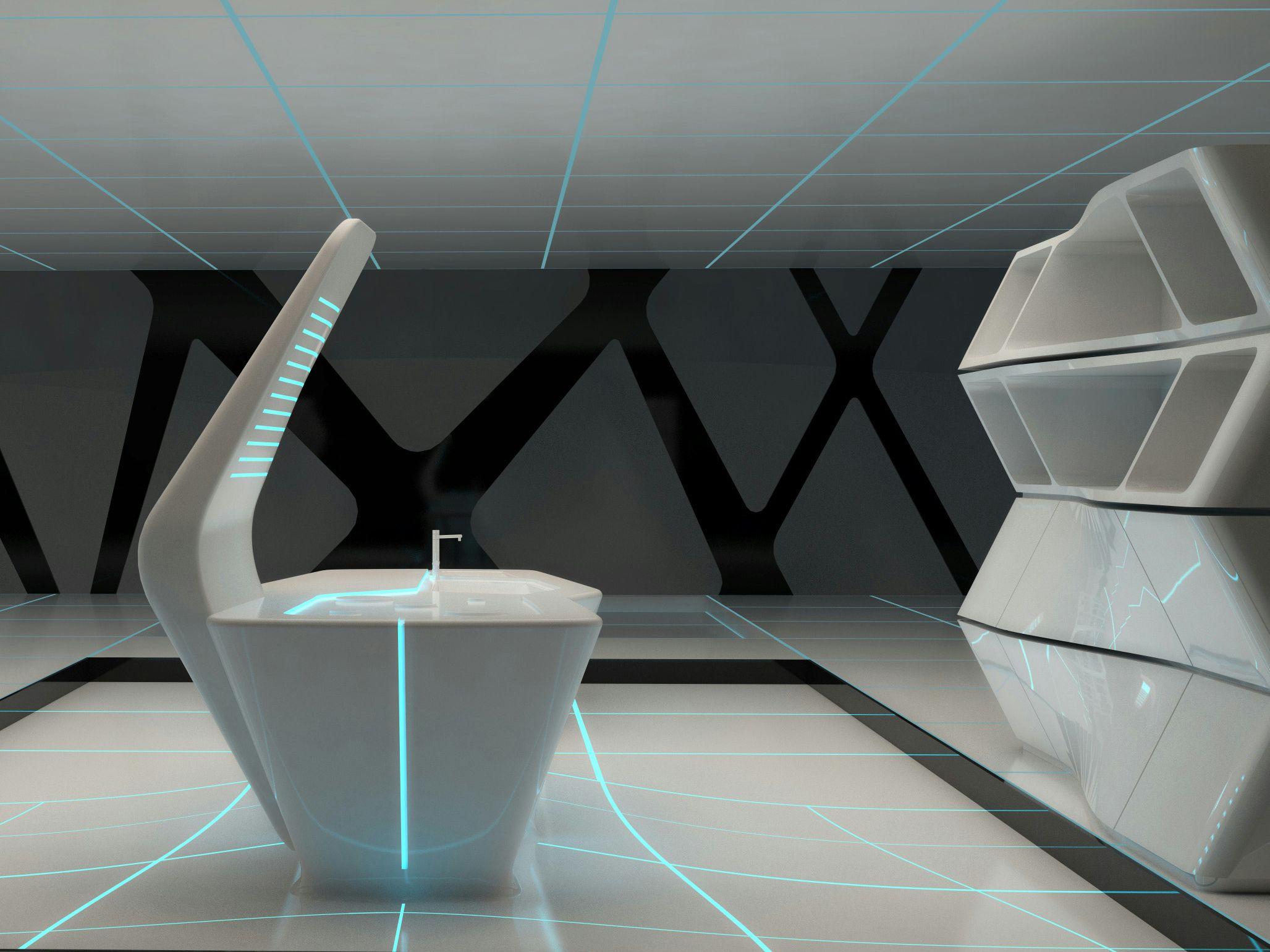 Cocina de corian con isla tron designs corian by ernestomeda dise o detalles mobiliario Diseno interior futurista