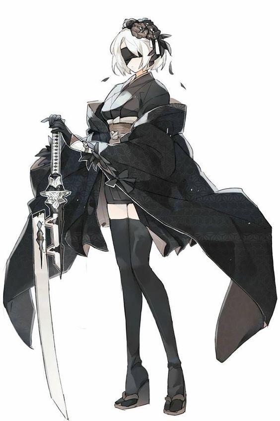 Nier Automata 2B FanArt Kimono Design #nierautomata #nier2b #cosplayclass