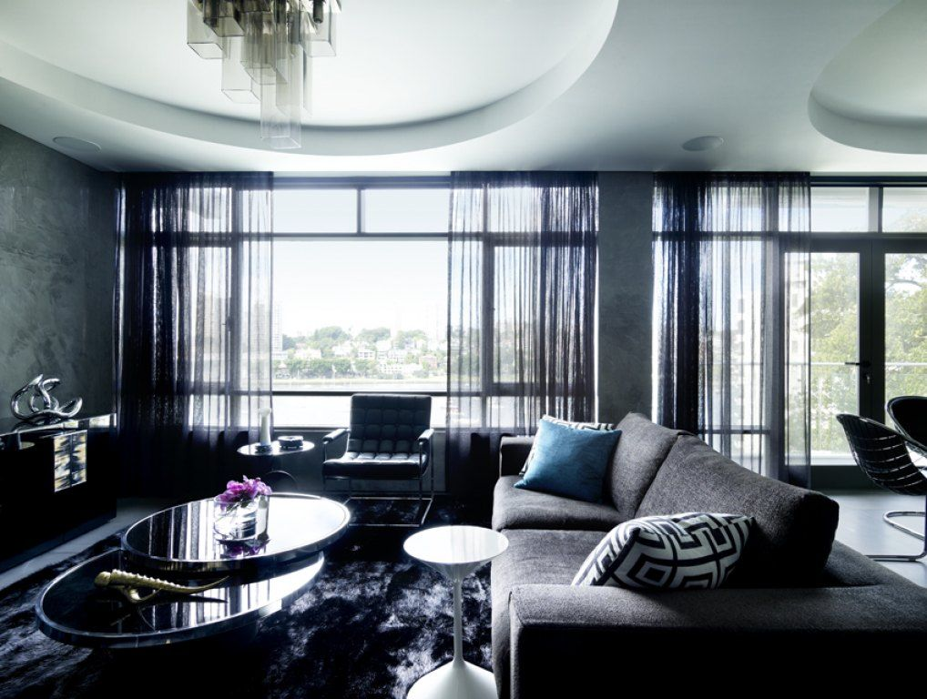 Chic Grey Living Room With Clean Lines: Modern, Luxurious, Cozy, Sexy And Masculine Apartment