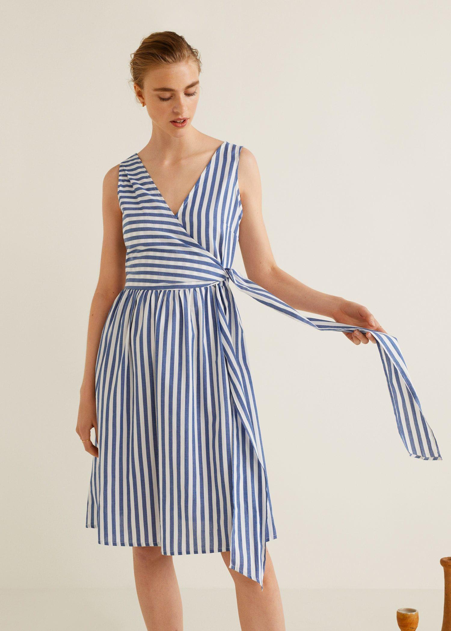 Striped Bow Dress Women Mango United Kingdom Wrap Dress Fashion Womens Dresses [ 2098 x 1500 Pixel ]
