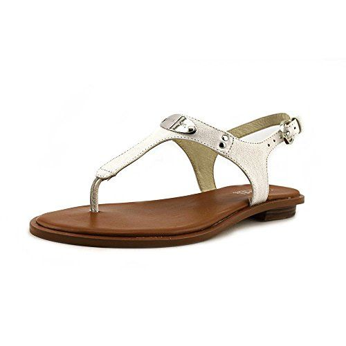 90c36e9944100 MICHAEL Michael Kors Womens MK Plate Thong Optic White 7 M    Quickly view  this special product