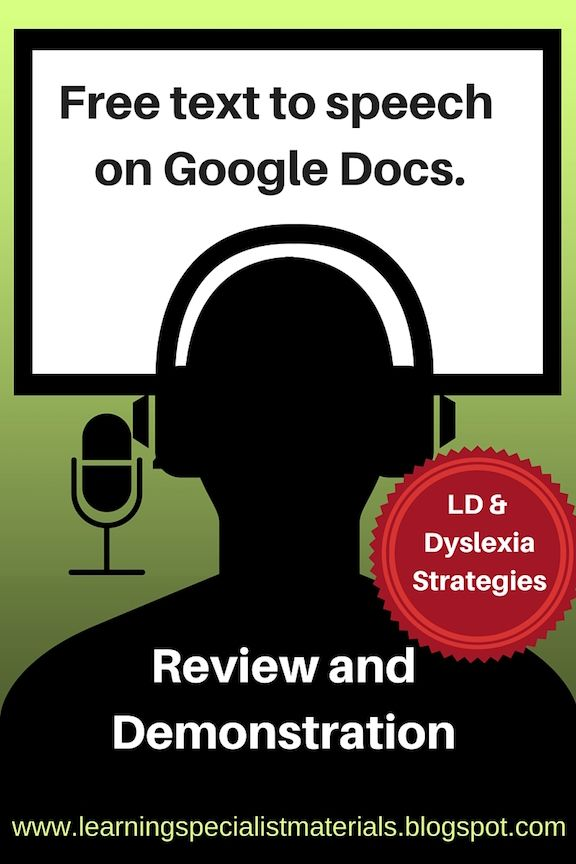 Free Text To Speech On Google Docs Helps Dyslexic Students Learning Specialist And Teacher Materials Good Sensory Learning Dyslexic Students Dyslexia Dyslexia Resources