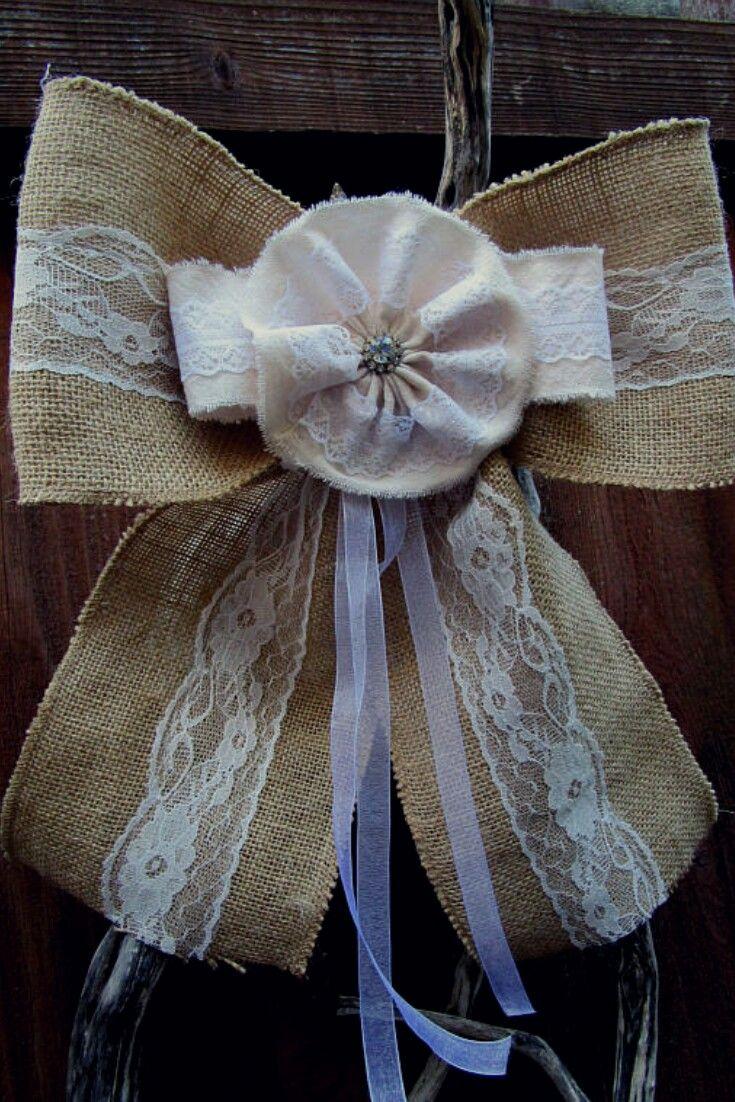 Burlap bow wedding rustic decor pew bow decoration aisle decoration burlap lace country style wedding decor chair bow decor #ad