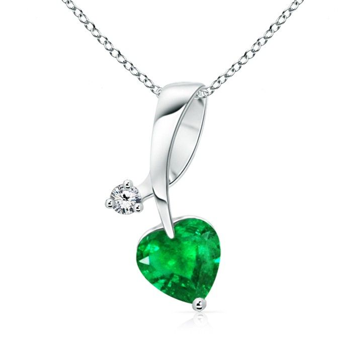 Angara Solitaire Heart Emerald Pendant with Twisted Diamond Bale BR4JBjerS